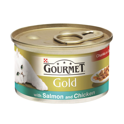 Gourmet Gold Cat Food Chunks In Gravy With Salmon And Chicken 85g To 12 X 85g