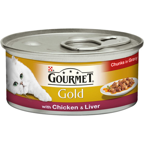Gourmet Gold Cat Food Chunks In Gravy With Chicken And Liver 12 X 85g