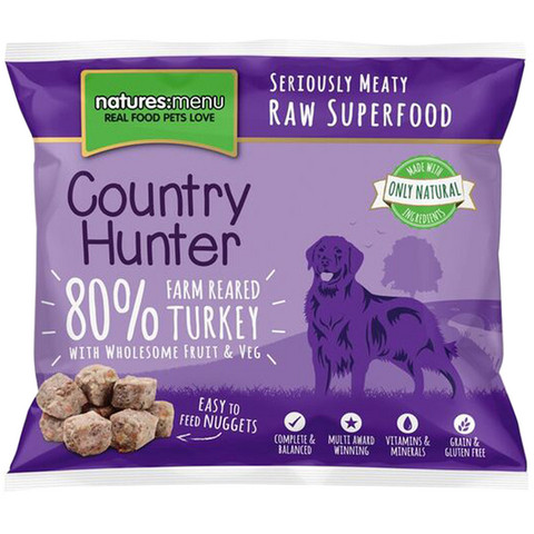 Natures Menu Country Hunter Frozen Raw Turkey Dog Food Nuggets 1kg
