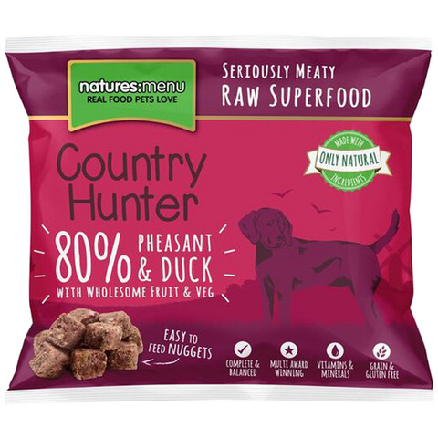 Natures Menu Country Hunter Frozen Raw Pheasant And Duck Dog Food Nuggets 1kg