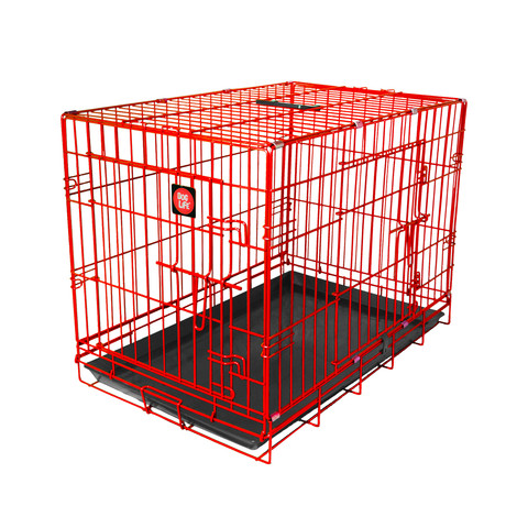 Dog Life Dog Crate Double Door Flame Red Small