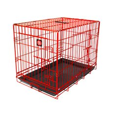 Dog Life Dog Crate Double Door Flame Red Medium