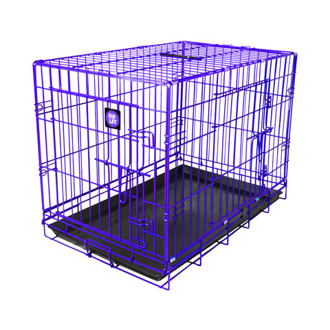Dog Life Dog Crate Double Door Electric Purple Large