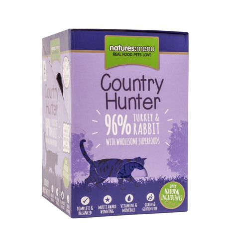 Natures Menu Country Hunter Superfood Grain Free Turkey And Rabbit Cat Pouches 6 X 85g