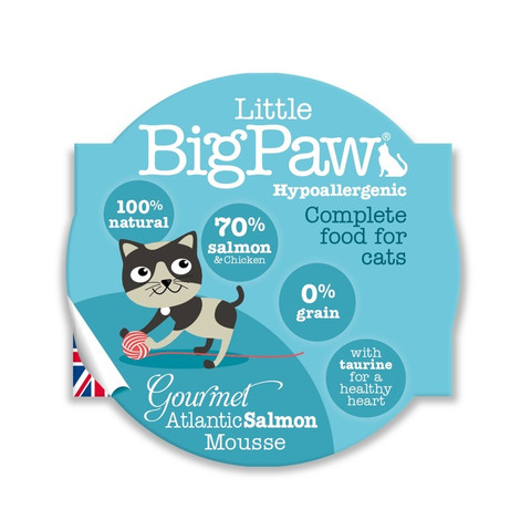 Little Bigpaw Hypoallergenic Salmon Mousse Grain Free All Lifestage Wet Cat Food 8 X 85g