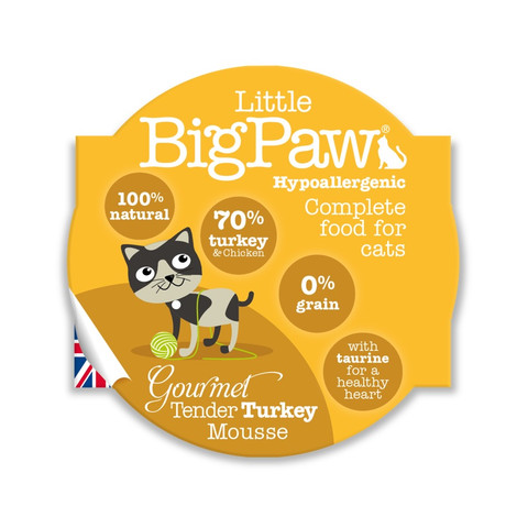 Little Bigpaw Hypoallergenic Turkey Mousse Grain Free All Lifestage Wet Cat Food 8 X 85g