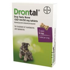 Drontal Dog Plus Flavour Bone Shaped Worming Tablet 1 Tab To 2 Tab
