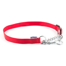 Ancol Heritage Nylon And Chain Check Red Dog Collar 25-35cm To 55-70cm