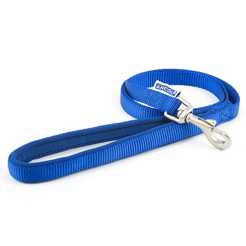 Ancol Heritage Padded Nylon Cushion Blue Dog Lead 1m X 12mm To 1m X 19mm