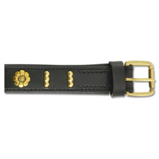 Ancol Deluxe English Rose Bull Terrier Black Leather Buckle Dog Collar 55cm To 65cm