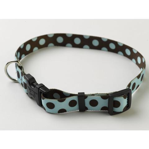 Yellow Dog Design Blue & Brown Polka Dot Adjustable Dog Collar X Small To Large