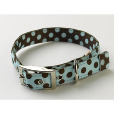 Yellow Dog Design Uptown Blue & Brown Polka Dot Buckle Dog Collar Small To Large