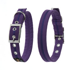 Oscar & Hooch Suedette Liberty Purple Buckle Dog Collar X Small To Large