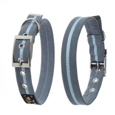 Oscar & Hooch Suedette Sky Blue Buckle Dog Collar X Small To Large
