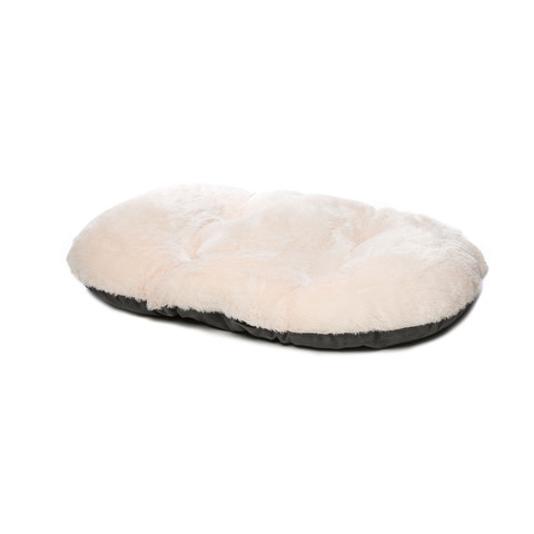 Gor Pets Nordic Grey Faux Fur Oval Cushion Bed 100cm