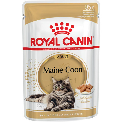 Royal Canin Maine Coon Adult Cat Food In Gravy Pouches 12 X 85g