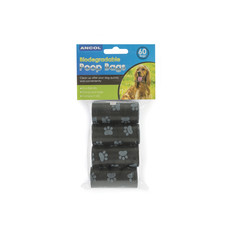 Ancol Biodegradable Dog Poo Bags Rolls 60 Pack