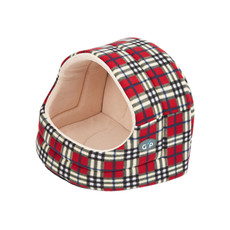 Gor Pets Argyll Hooded Tartan Small Dog & Cat Bed 32x36x33cm To 41x49x47cm