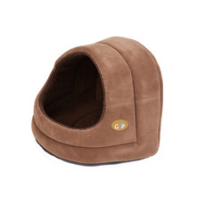 Gor Pets Bruges Hooded Brown Faux Suede Small Dog & Cat Bed 32x36x33cm To 37x44x39cm