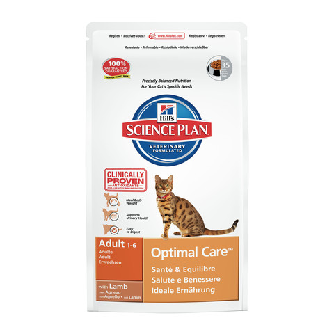 Hills Science Plan Adult Cat Optimal Care With Lamb Dry Food 2kg To 10kg