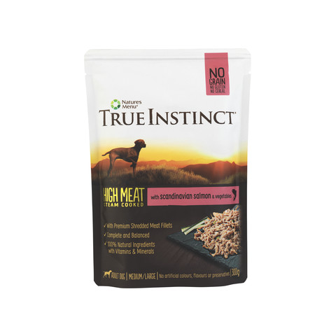 Natures Menu True Instinct High Meat Fillet Scandinavian Salmon Adult Dog Pouches 8 X 300g