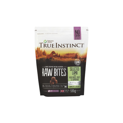 Natures Menu True Instinct Raw Bites Turkey And Lamb Frozen Puppy Food 500g