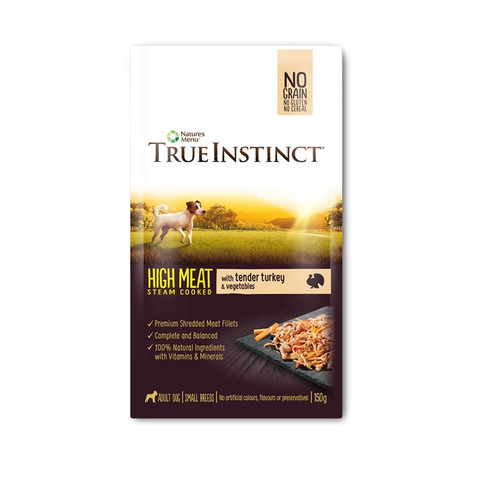 Natures Menu True Instinct High Meat Fillet Turkey Small Breed Dog Pouches 8 X 150g