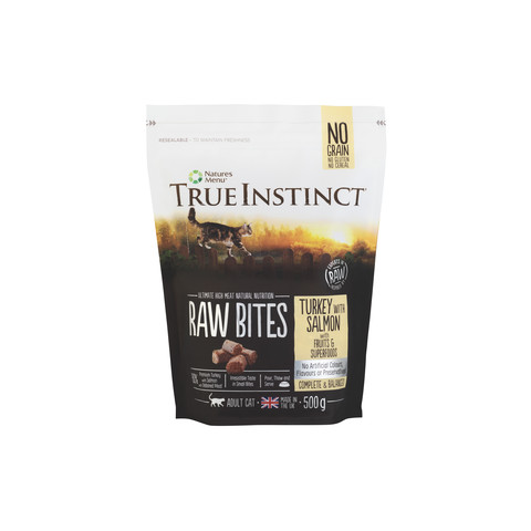 Natures Menu True Instinct Raw Bites Turkey And Salmon Frozen Cat Food 500g