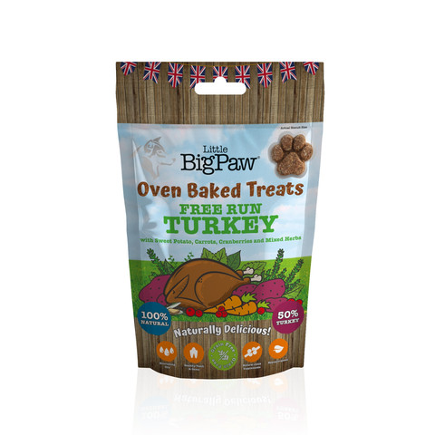 Little Big Paw Oven Baked Free Run Turkey Treats For Dogs 130g