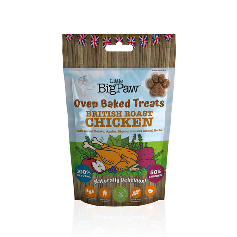Little Big Paw Oven Baked British Roast Chicken Treats For Dogs 130g