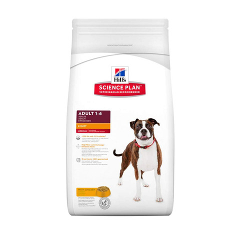 Hills Science Plan Canine Adult Light With Chicken 3kg To 2 X 12kg