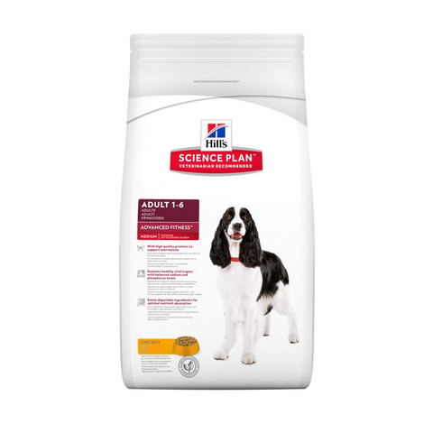 Hills Science Plan Canine Adult Advanced Fitness Medium With Chicken 2.5kg To 2 X 12kg