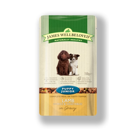 James Wellbeloved Puppy Pouch With Lamb And Rice 10 X 150g