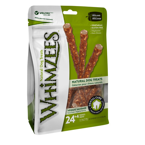 Whimzees Veggie Sausage 120mm Small Dental Dog Chew Treat Pack 28 Pack