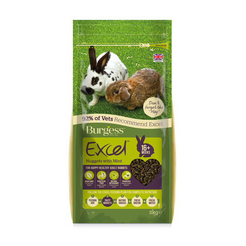 Burgess Excel Adult Rabbit Nuggets With Mint 2kg To 10kg
