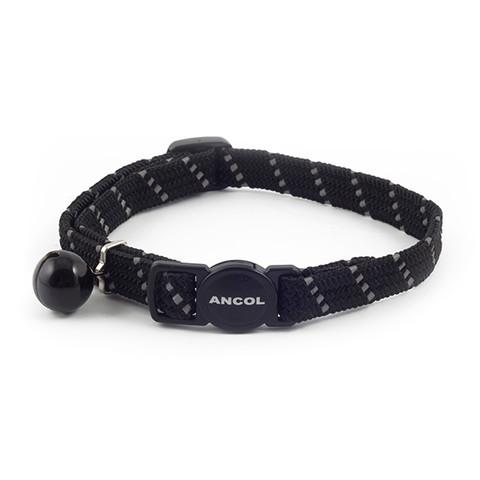 Ancol Reflective Black Softweave Cat Collar