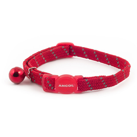 Ancol Reflective Red Softweave Cat Collar