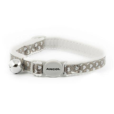 Ancol Reflective Gloss Silver Hearts Cat Collar