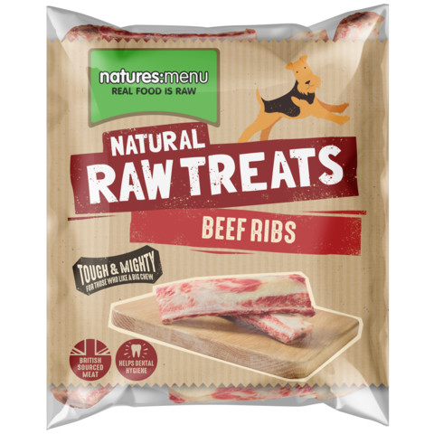 Natures Menu Frozen 2 Beef Ribs Raw Chews For Dogs 500g