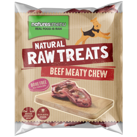 Natures Menu Frozen Meaty Beef Raw Chews For Dogs 500g