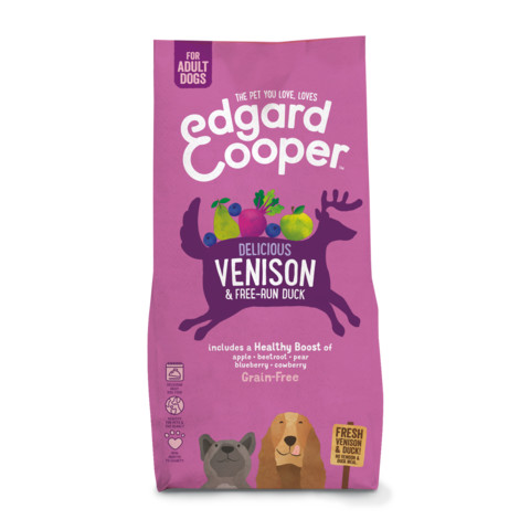 Edgard & Cooper Adult Grain Free Dry Dog Food With Fresh Venison & Free-run Duck 12kg