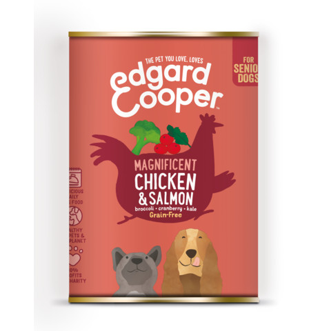 Edgard & Cooper Senior Grain Free Wet Dog Food With Chicken & Salmon 6 X 400g