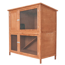 Bunny & Fizz Meadow Double Guinea Pig Hutch 4x4x2ft