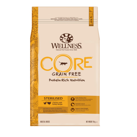Wellness Core Sterilised Chicken And Turkey Grain Free Dry Adult Cat Food 10kg