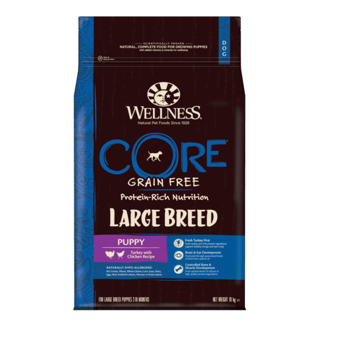 Wellness Core Large Breed Puppy Chicken And Turkey Grain Free Dry Dog Food 10kg