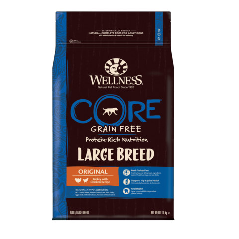 Wellness Core Large Breed Chicken And Turkey Grain Free Dry Adult Dog Food 10kg