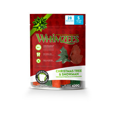 Whimzees Christmas Variety Bag Snowman & Christmas Tree Dental Treats For Small Dogs