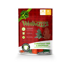 Whimzees Christmas Variety Bag Snowman & Christmas Tree Dental Treats For Medium Dogs