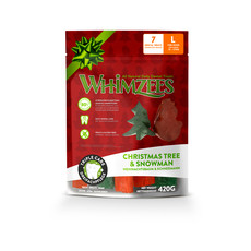 Whimzees Christmas Variety Bag Snowman & Christmas Tree Dental Treats For Large Dogs
