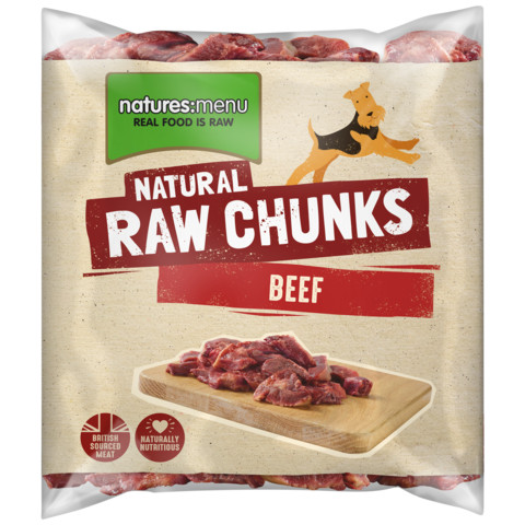 Natures Menu Frozen Raw Beef Chunks For Dogs 1kg